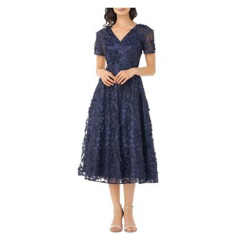 CARMEN MARC VALVO Navy Short Sleeve Tea-Length Dress 14