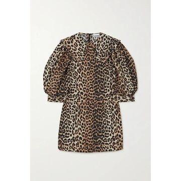 GANNI - Leopard-print Cotton-poplin Mini Dress - Leopard print