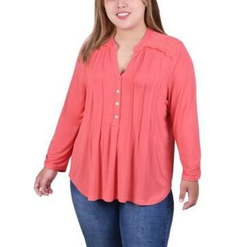Ny Collection Plus Size Long Sleeve Pleat Front Y-Neck Blouse with Rounded Hem