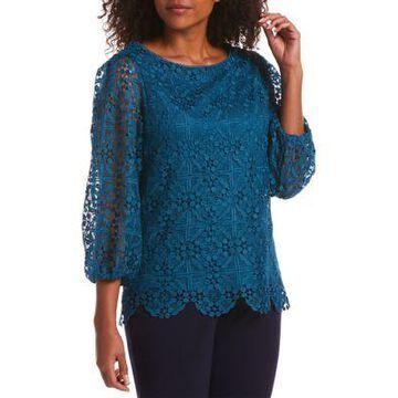 Rafaella Women's 3/4 Bubble Sleeve Lace Top -