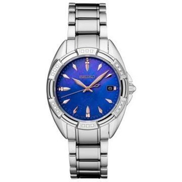 Seiko Women's Diamond-Accent Stainless Steel Bracelet Watch 33.3mm