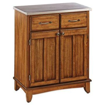 Home Styles Small Buffet/server With Stainless Steel Top In Oak