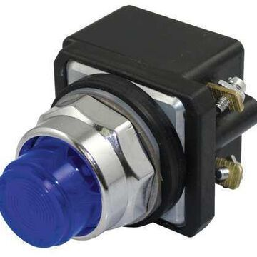 DAYTON 30G384 Pilot Light,LED,24V,30mm,Chrome,BL