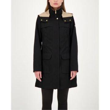 Jones New York Colorblocked A-Line Hooded Raincoat