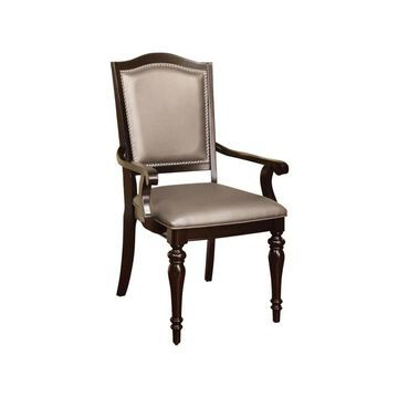 Benzara Set of 2 Casual Faux Leather Upholstered Dining Arm Chair (Wood Frame) in Brown | BM131983