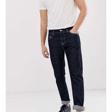 Noak straight leg jeans in indigo with white seams