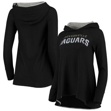 Women's Jacksonville Jaguars Majestic Threads Black Brushed Hacci Raglan Pullover Hoodie