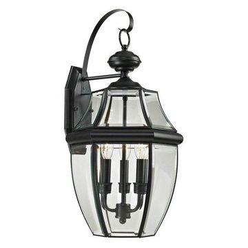 Cornerstone Ashford 3 Light Exterior Coach Lantern, Black