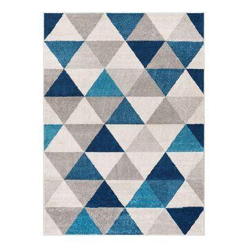 Well Woven Mystic Alvin Mid-Century Modern Geometric Area Rug, Blue, 4X5 Ft