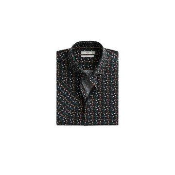 MANGO MAN - Slim fit geometric-print shirt black - S - Men