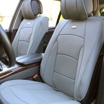 FH Group Ultra Comfort Leatherette 2 Front Seat Cushions, Solid Gray