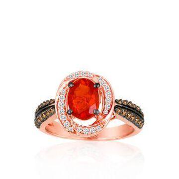Le Vian Women 14K Strawberry Gold Neon Tangerine Fire Opal, Chocolate Diamond, And Vanilla Diamond Ring - -