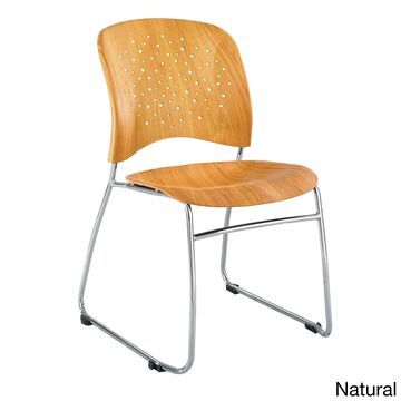 Safco Reve Silver Sled Base Guest Chair with Round Plastic Faux Wood Seat and Back, Natural - 2 Pack