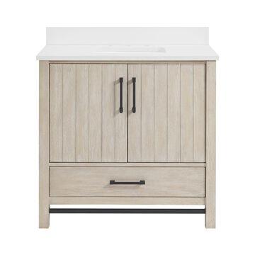 allen + roth Brawley 36-in Cerused Natural Oak Undermount Single Sink Bathroom Vanity with White Engineered Stone Top in Brown   1960VA-36-274-901-UM