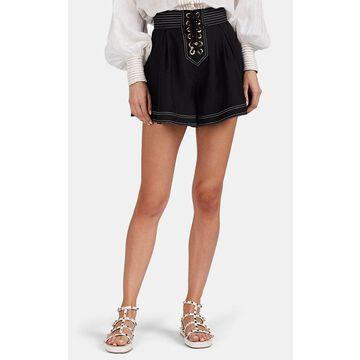Zimmermann Lace-Up Silk Shorts