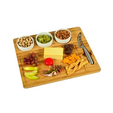 Bamboo Cheese Board with 3 Bowls and Multi Function Knife