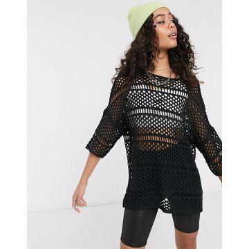 Noisy May oversized crochet top in black