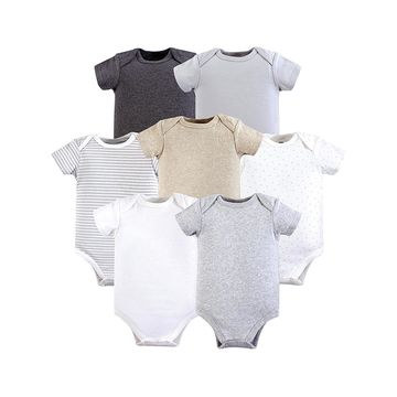 Hudson Baby Infant Bodysuits Heather - Heather Neutral Bodysuit - Set of Five