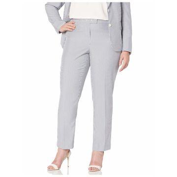ANNE KLEIN Womens Gray Striped Wear To Work Pants Plus Size: 22W