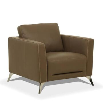 ACME FURNITURE Malaga Modern Taupe Leather Accent Chair in Brown   55002