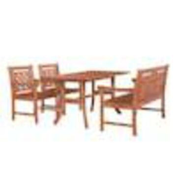 VIFAH VIFAH Malibu 4-Piece Tan Frame Patio Set