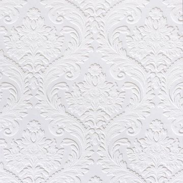 Brewster Anaglypta x 57-sq ft Paintable Vinyl Paintable Damask Unpasted Wallpaper in White   437-RD80027