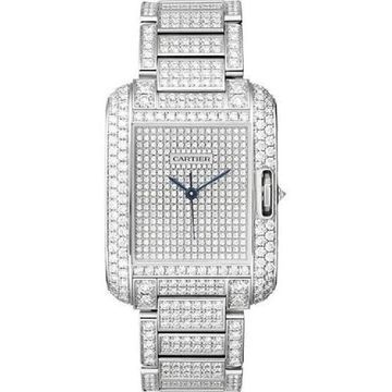 Cartier Men's HPI00561 'Tank' Diamond Stainless Steel Watch (Bracelet - Silver - Stainless Steel - 30 Meters - 9 Inch - Male - Rectangle - New - 39mm