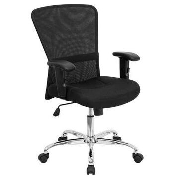 Flash Furniture Mid-Back Mesh Contemporary Swivel Task Chair in Black