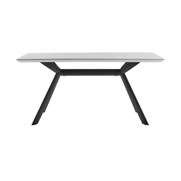 Armen Living Margot Light Gray Dining Table, Resin with Black Metal Base   LCMNDIGRY