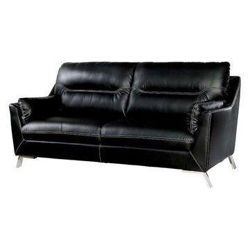 Furniture of America Dubas Faux Leather Sofa in Black