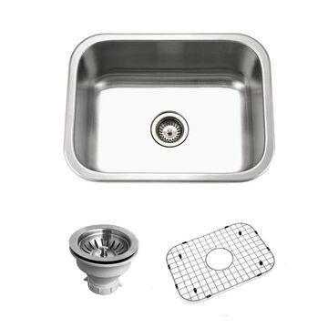 "Houzer BSS-2309 Belleo 23"" Drop In Single Basin Stainless Steel Kitchen Sink Stainless Steel Fixture Kitchen Sink Stainless Steel"
