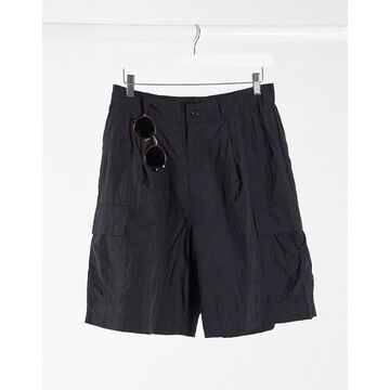 Weekday Linton Cargo Shorts in Black