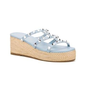 Olivia Miller Women's Silver Sands Studded Wedge Slide Sandals Women's Shoes