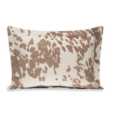 Glenna Jean Happy Trails Large Pillow Sham in Tan Cow Print