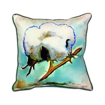 Pair of Betsy Drake Cotton ball Large Indoor/Outdoor Pillows 18x18