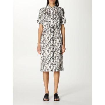 Max Mara long shirt dress in cotton with all over logo
