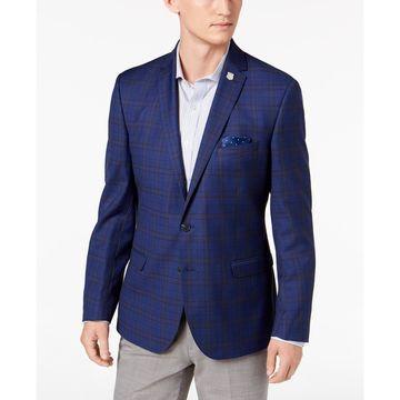 Men's Slim-Fit Stretch Blue Windowpane Sport Coat, Online Only
