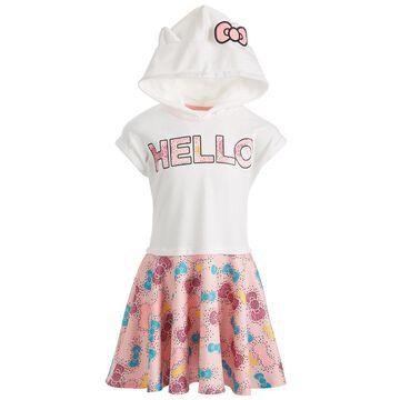 Little Girls Bow-Print Hooded Dress