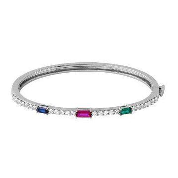 Simply Vera Vera Wang Sterling Silver Lab-Created Gemstone Hinged Bangle Bracelet