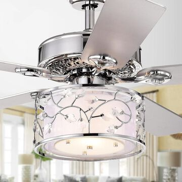 Swerl 52-inch 1-light Lighted Ceiling Fan with Multi-Layered Shade (incl. Remote & 2 Color Option Blades) (Remote/Hardwired - Grey/Silver)