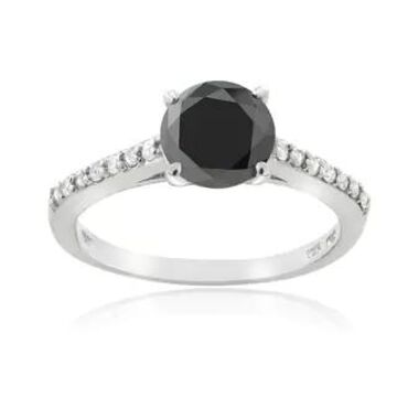 DB Designs Sterling Silver 1 1/7ct TDW Black and White Diamond Engagement Ring (7)