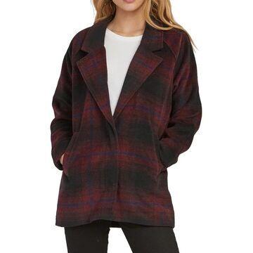 RVCA Womens Jacket Black Oversized Plaid Notched Collar