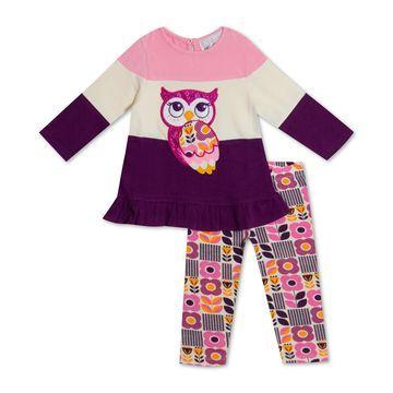 Baby Girls 2-Pc. Colorblocked Owl Tunic & Printed Leggings Set