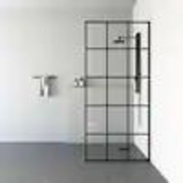 VIGO VIGO Mosaic 34-in Fixed Frame Clear Glass Shower Screen with French Grid Design