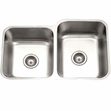 """Houzer STE-2300SL Eston 31-1/4"""" Double Basin Undermount 18-Gauge Stainless Steel Kitchen Sink with 40/60 Split and Sound Dampening Technology"""