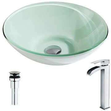 ANZZI Sonata Series Lustrous Light Green Deco-Glass Vessel Sink with Key Polished Chrome Faucet