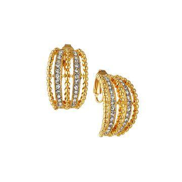 Crystal Half-Hoop Clip Earrings