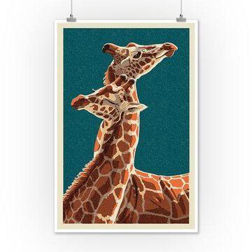 Giraffe - Letterpress - Lantern Press Poster (12x18 Art Print, Wall Decor Travel Poster)