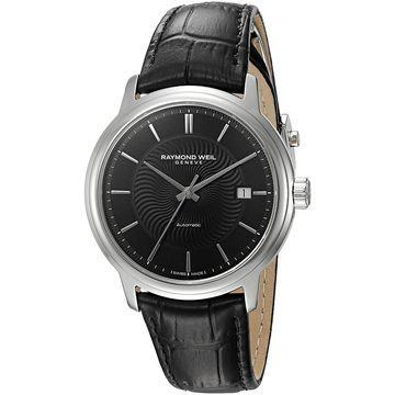 Raymond Weil Men's 2237-STC-20001 'Maestro' Automatic Black Leather Watch