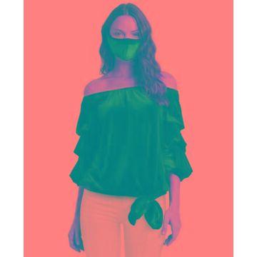 Msk Velvet Off-The-Shoulder Puff Sleeve Top & Mask